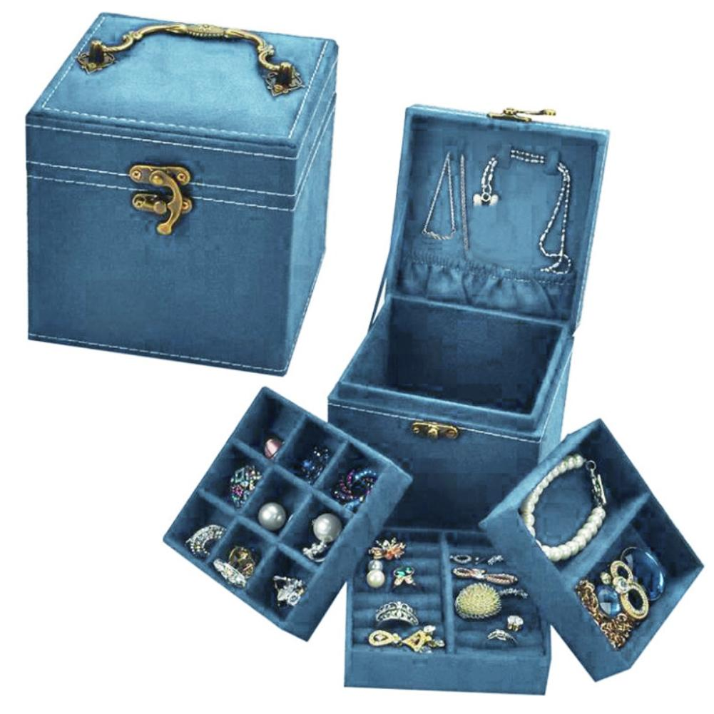 Vintage Three Layers Tote Fashion Jewelry Portable Box Organizer Display Earrings Rings Bracelet Necklace Storage Case With New