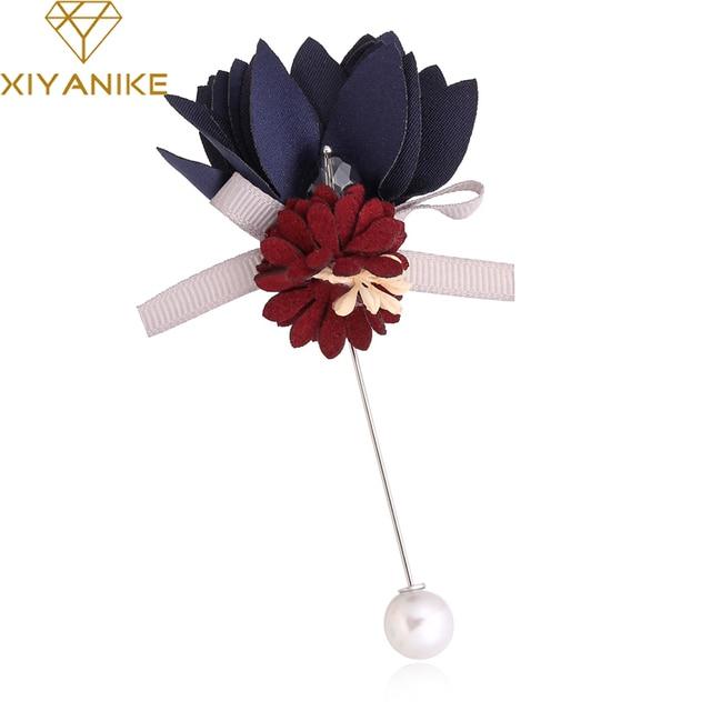XIYANIKE Винтаж ручной работы цветок ткань нагрудный знак брошь костюм для женщин бутоньерка Кнопка палочки-броши Свадебные украшения JBSW113