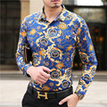 2015 Latest design autumn new fashion pattern printing men causal long sleeve cotton shirt