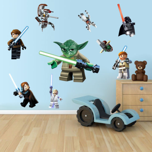 lego yoda star war 9 characters decal removable wall sticker kids