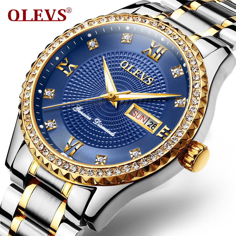 OLEVS Luxury Diamond Watch Men Calendar Week Luminous Hands Clock Male Wristwatch Metal Bracelet Watches relogio masculino 6618