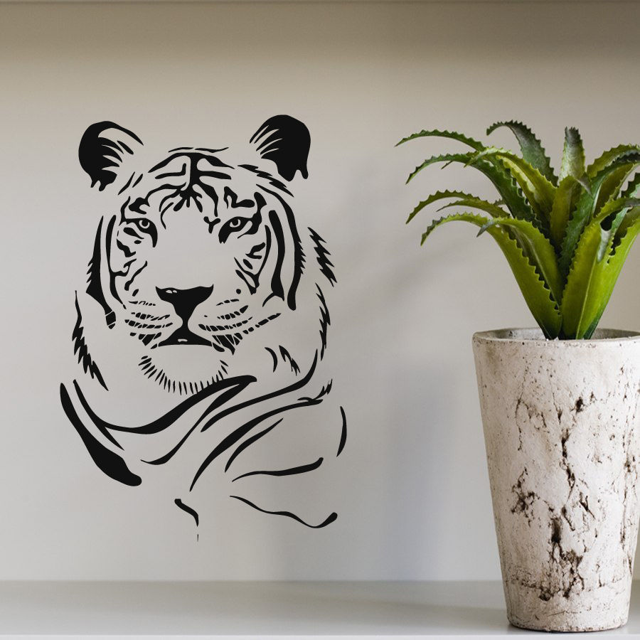 Tiger head movable wall sticker Wildlife Art modern family living room decorative wallpaper mural vinyl stickers F 93 in Wall Stickers from Home Garden