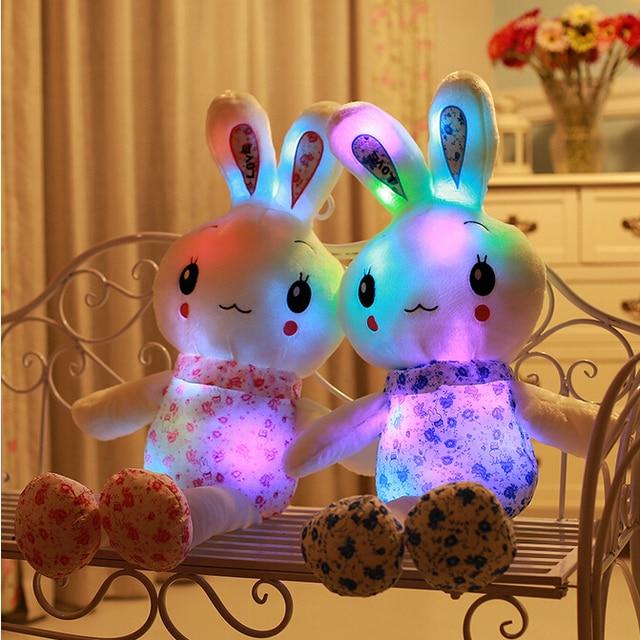 1 unid 75 cm Luminious juguete conejo de felpa Lovely Beauty juguete conejo que brilla intensamente & Flashing felpa muñeca bonito regalo para la niña