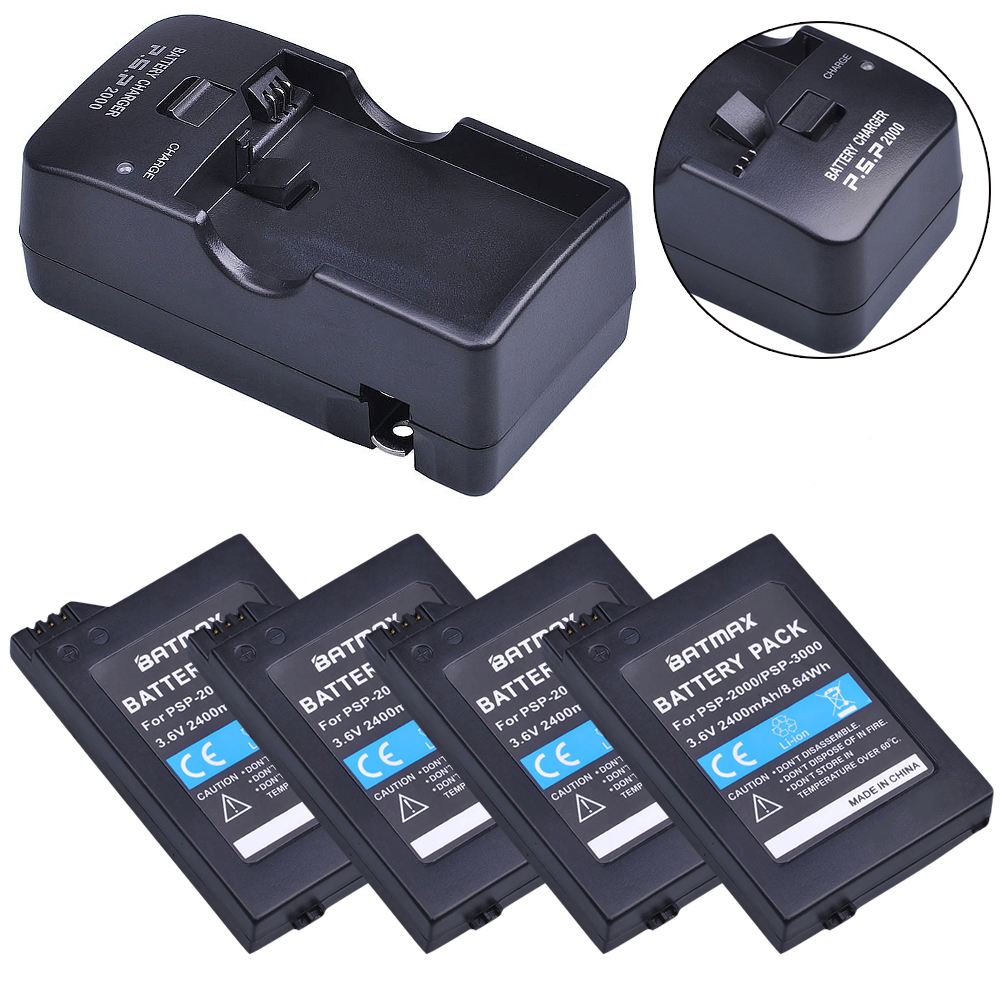 4Pcs 3.6V 2400mAh Batteries + Charger Kits for Sony PSP2000 PSP3000 Console