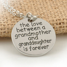 The Love Between a Grandmother and Granddaughter is Forever Heart Pendant Chain Necklace for Family Best