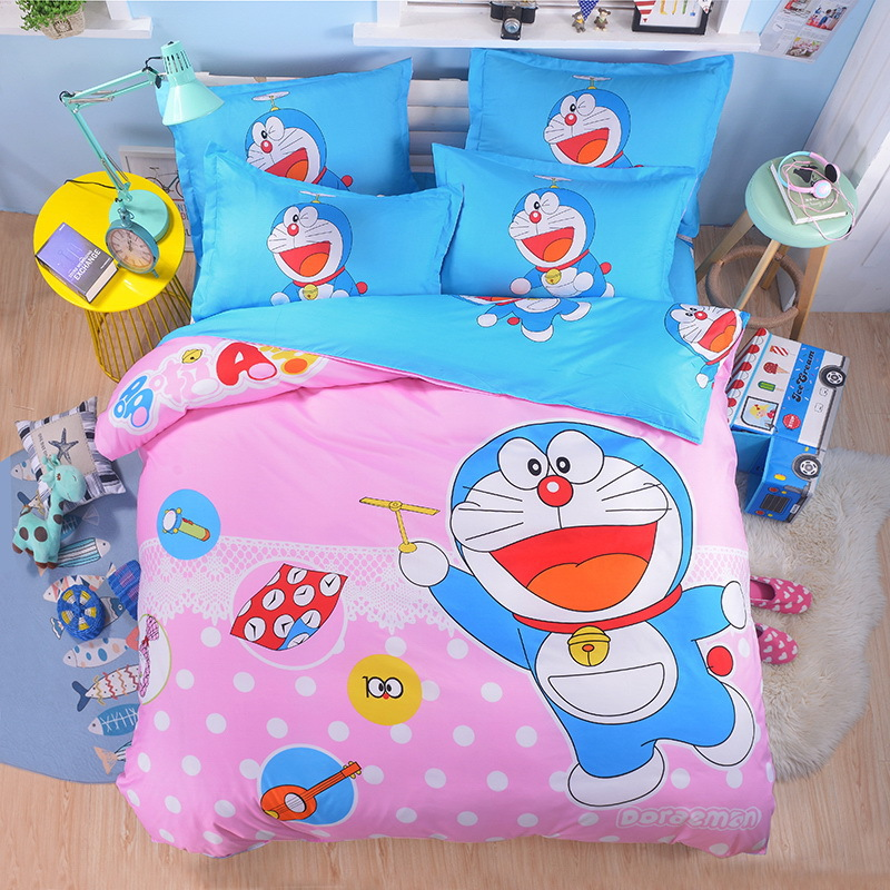 Free Shipping Hot Good Quality 3 4 Pcs Doraemon Bedding Set Children Cotton Bed Sheets Duvet Cover Sheet Pillowcase In Sets From Home Garden