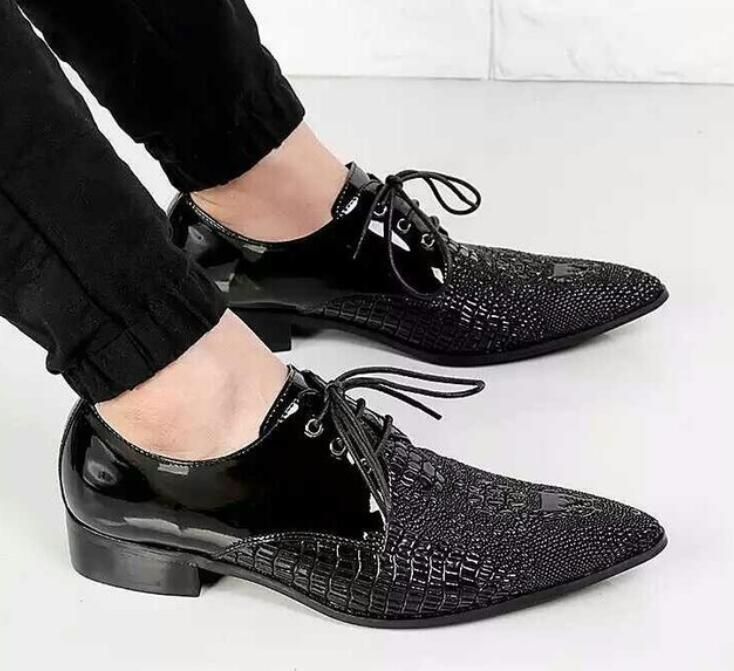 retro 2018 fall mens pointed toe dress shoes red balck genuine leather lace up oxford shoes for men formal wedding italy loafers 2017 new oxford for men dress genuine leather black red office zapatos lace up pointed toe the trend of black leather shoes