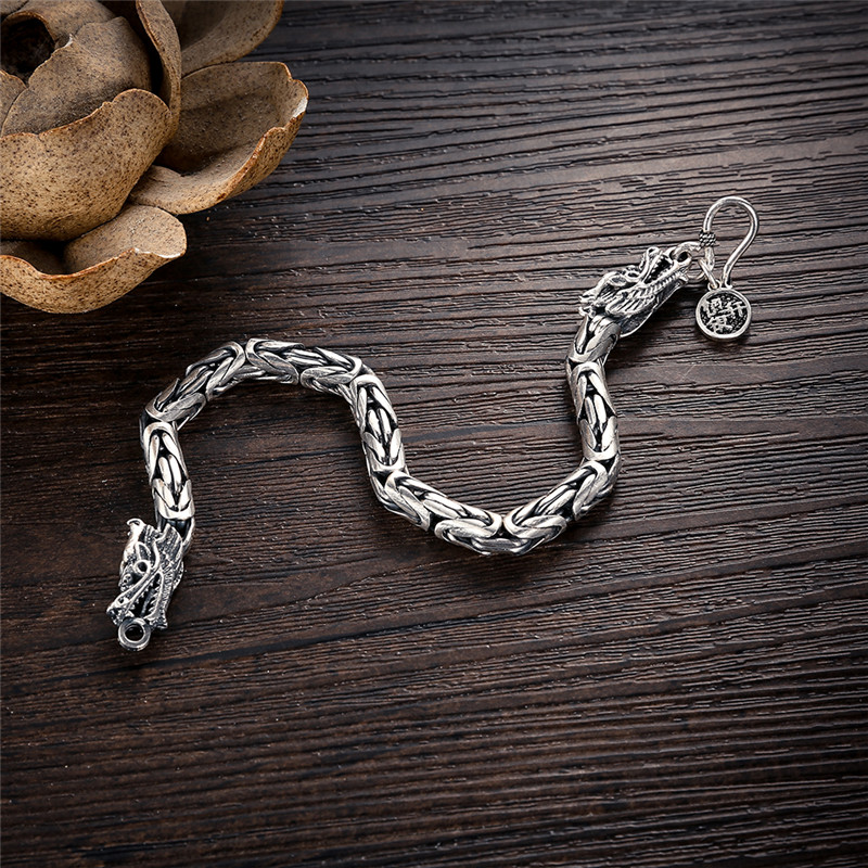 Image 4 - V.YA Real 925 Sterling Silver Dragon Bracelet for Men Male Vintage Heavy Bangles Bracelets Homme Silver Jewelry-in Chain & Link Bracelets from Jewelry & Accessories