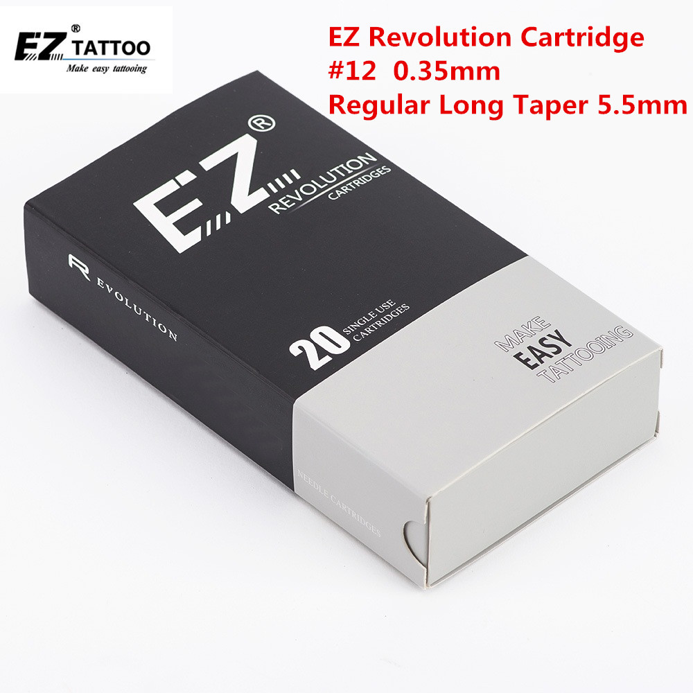 EZ Revolution Tattoo Needles Cartridge Round Liners # 12 0.35mm Long Taper 5.5mm For Cartridge Machine And Grips 20 Pcs /box