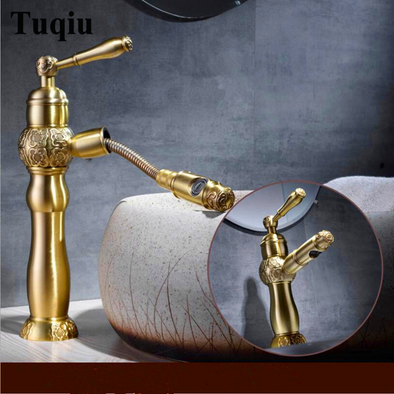 Carved Pull Out Basin Faucet Black Oil Brushed/Antique Bathroom Faucet Single Hole Cold and Hot Basin Crane Water Mixer Tap image