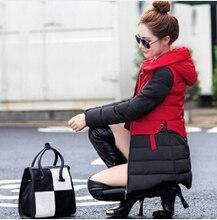 2016 Зима новый Корейский капюшоном хлопка сшивание Тонкий Вниз Средней Длины Хлопка теплая вниз проложенный пальто женщин parka куртки wt0080