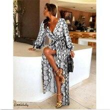 Элегантные Формальные Длинные платья для женщин сексуальные лодочкой шеи блеск глубоким v-образным вырезом и принтом вечерние платья богемный ретро платье для женщин Vestido