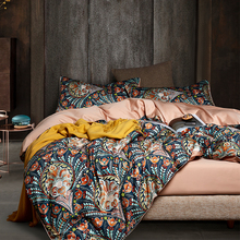 New Luxury Bohemia Style 3D Printing 60S Egyptian Cotton Bedding Set Queen Size Duvet Cover Bed sheet Linen Pillowcases 4pcs