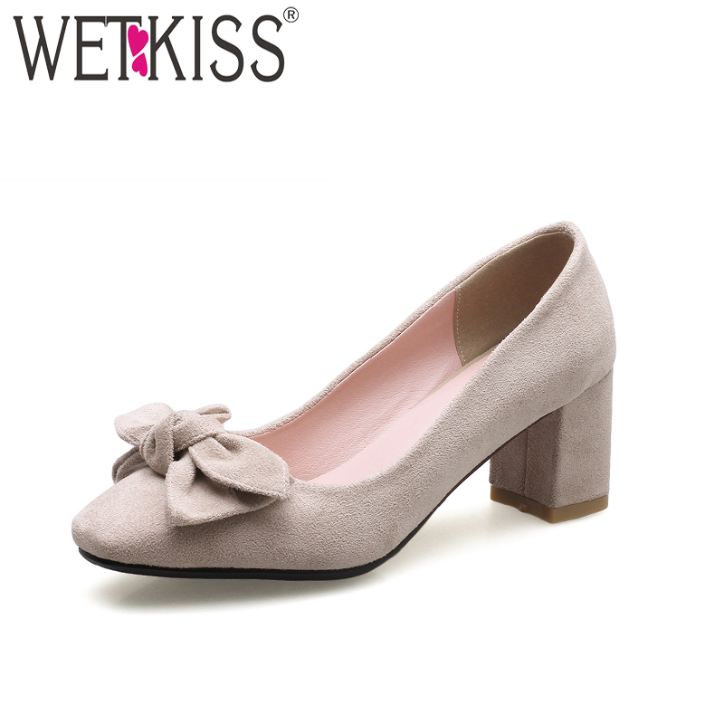 все цены на WETKISS New High Heels Women Pumps Square Toe Flock Shallow Butterfly Knot Thich Heels Footwear 2018 Spring Fashion Shoes Ladies