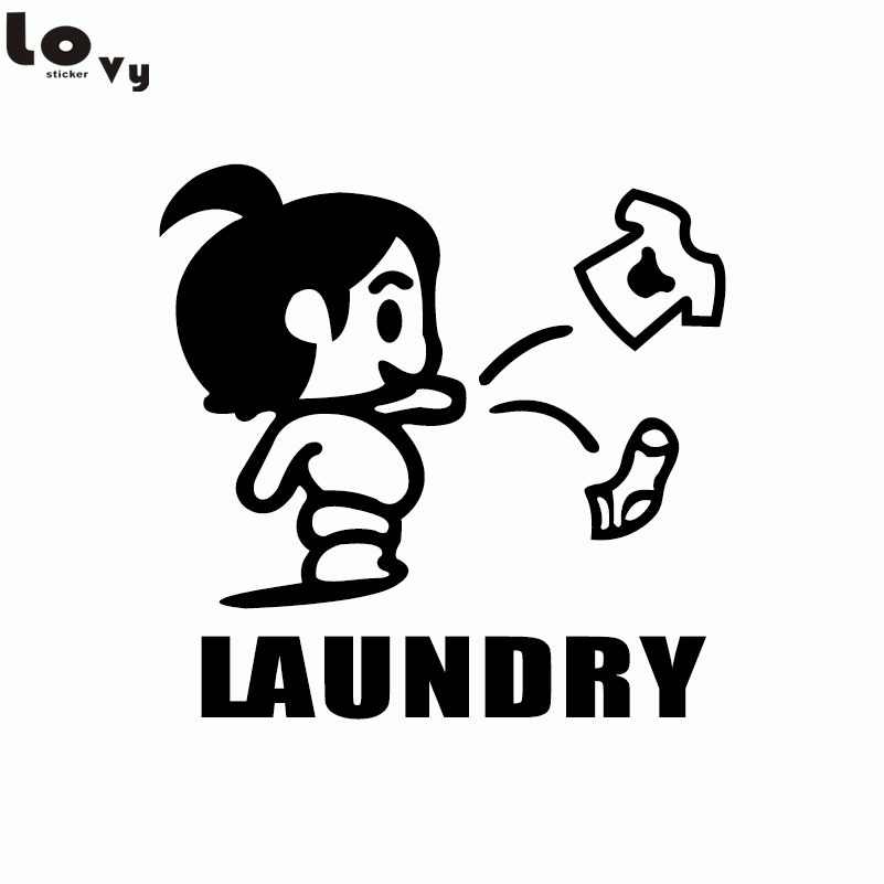 LAUNDRY Free Stickers Wall Stickers Cartoon Sketch Furniture Kids Room Decoration