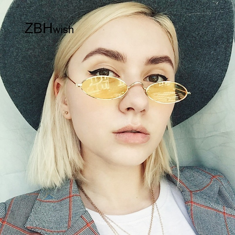 ZBHWISH Small Oval Sunglasses Women Female Vintage Hip Hop Balck Glasses Retro lady
