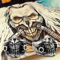 Безумный Макс IMMORTAN JOE кольцо стерлингового серебра 925 мужские Байкер Череп 9Y021A