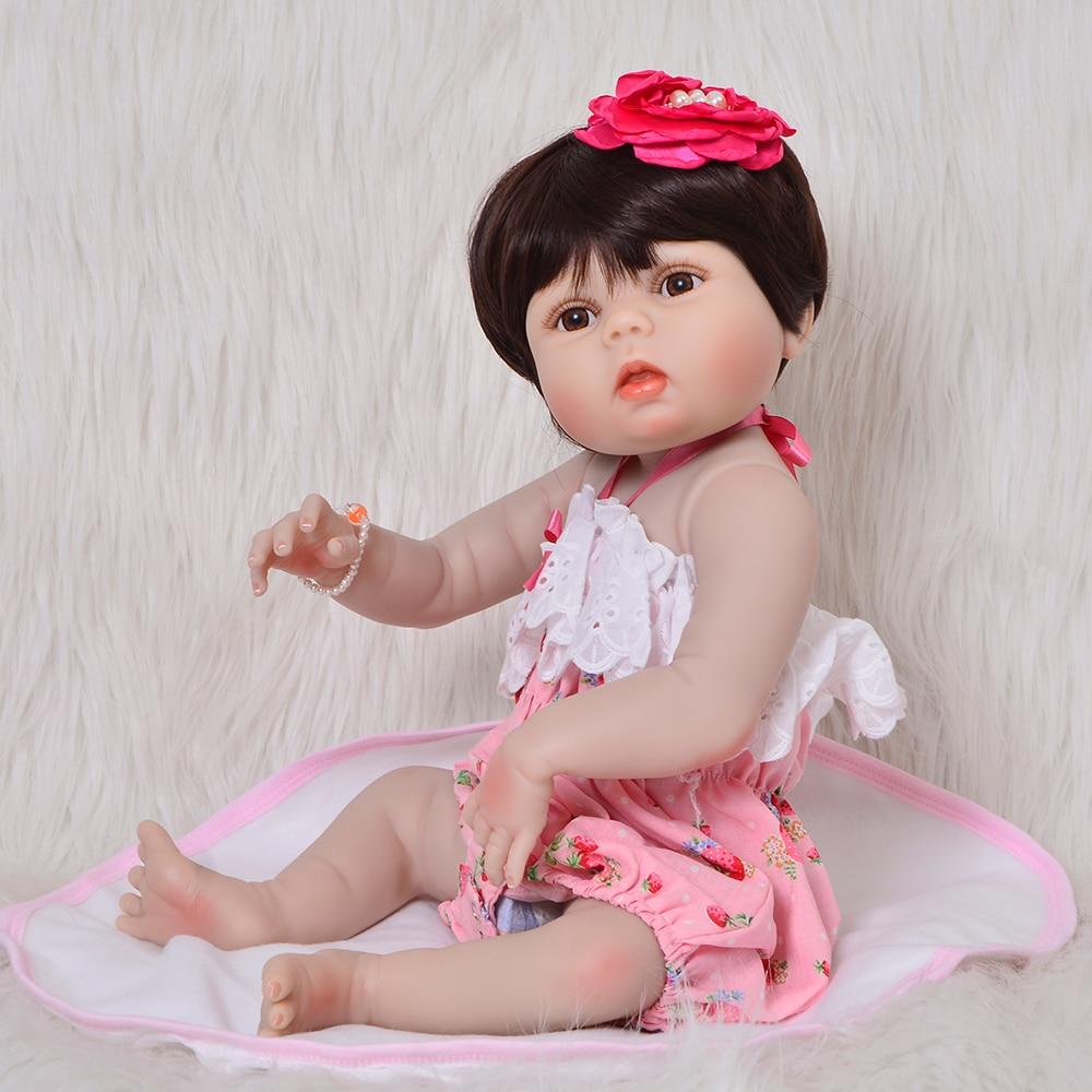 """Adorable muñeca de bebé Reborn 57 cm juguetes para bebés 23 """"vinilo completo de silicona para niñas Playmates recién nacidos para cumpleaños regalos-in Muñecas from Juguetes y pasatiempos    1"""
