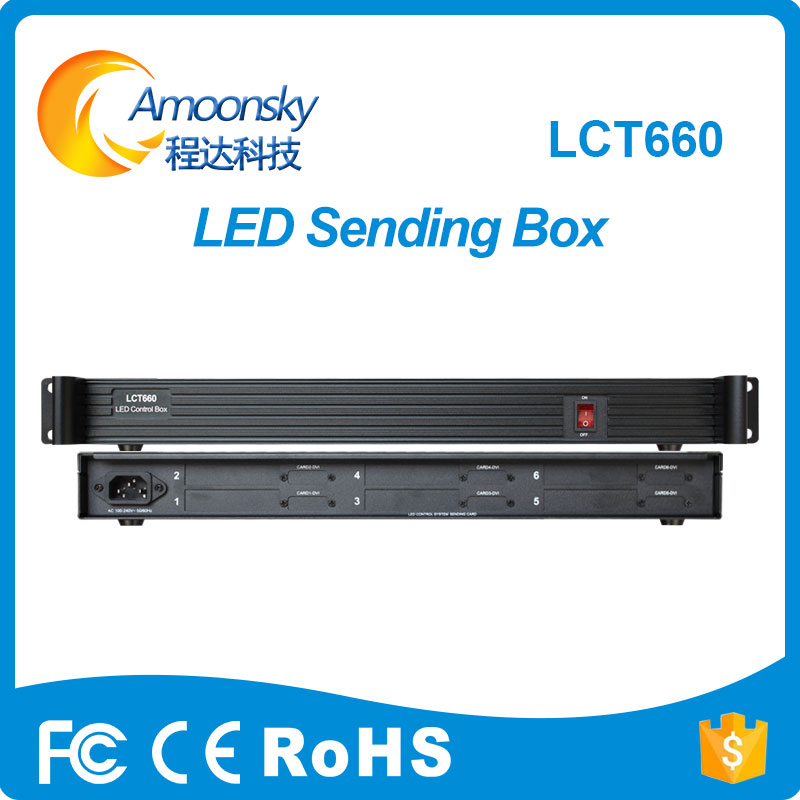 AMS-LCT660 sender box led support install 6 pieces sending card like ts802d msd300 hvt11in цена