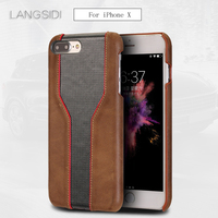 wangcangli For iPhone X 10 case handmade Luxury cowhide and diamond texture back cover Genuine Leather phone case