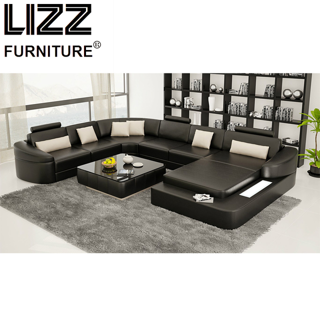 Lizz Furniture Promotion Products Modern Miami Cow Leather U Shape Couch  Sofa With LED Light