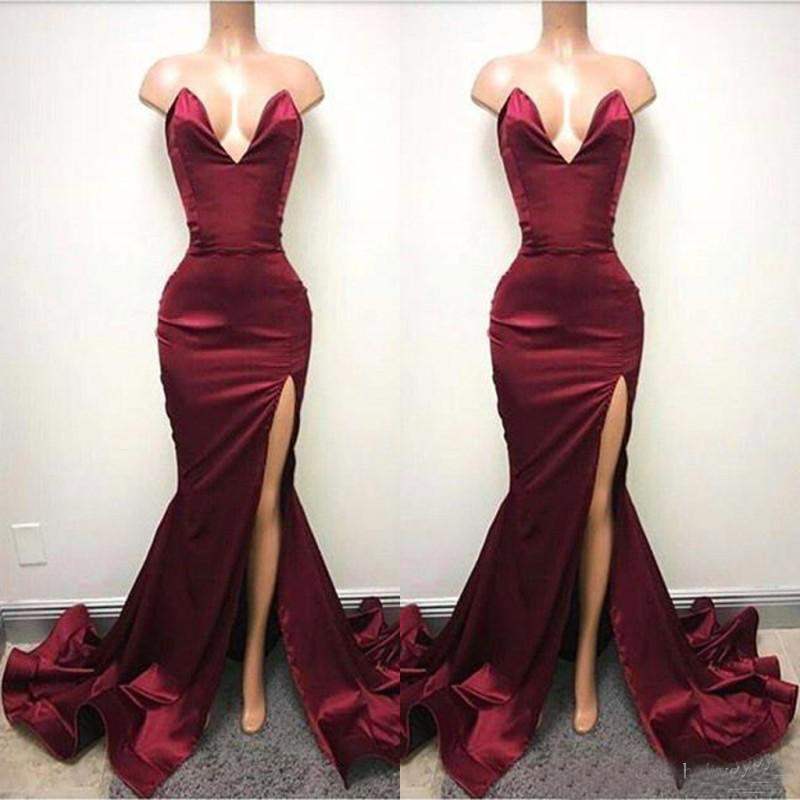 2019 Hot Burgundy Mermaid Prom Dresses Sexy Backless Sweetheart High Split Evening Gowns Ruched Celebrity African Party Gowns