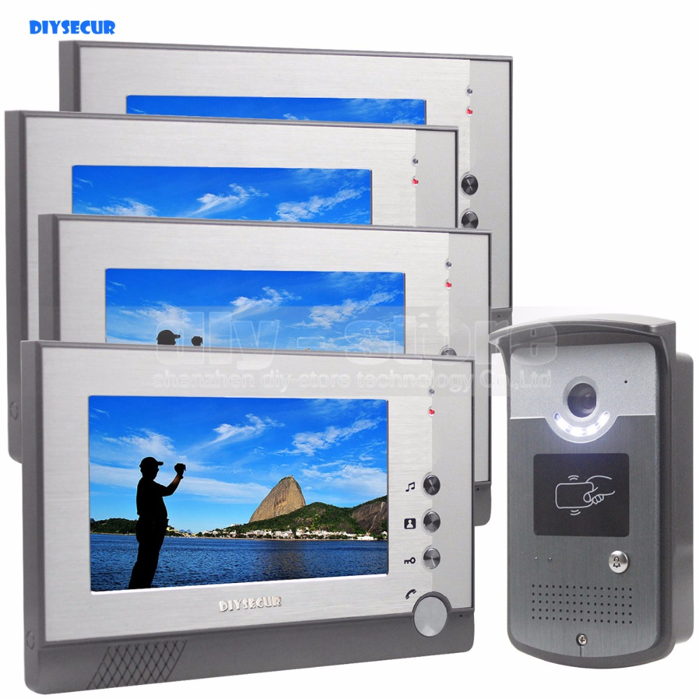 DIYSECUR 7 inch Color LCD Display Video Door Phone Enter Intercom Doorbell Card Key RFID Reader LED Night Vision Camera 1V4 diysecur 1024 x 600 7 inch hd tft lcd monitor video door phone video intercom doorbell 300000 pixels night vision camera rfid