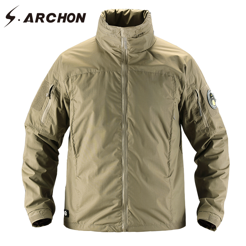 S.ARCHON Windbreaker Waterproof Military Bomber Men Jacket Casual Lightweight Tactical Jacket Soft shell Army Clothing For Men lurker shark skin soft shell v4 military tactical jacket men waterproof windproof warm coat camouflage hooded camo army clothing