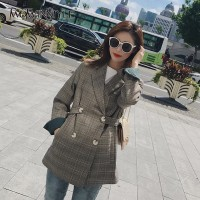 TWOTWINSTYLE Plaid Blazer Coat Female Long Sleeve Double Breasted Jackets For Women Fashion Vintage 2018 Clothing Big Size Tops