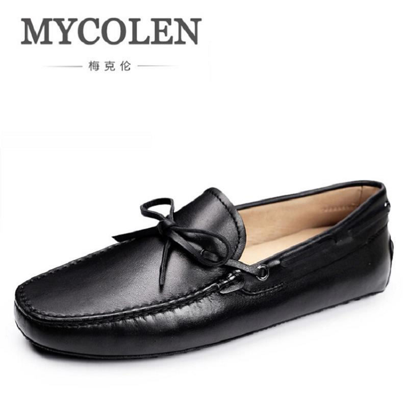 MYCOLEN New Leather Casual Shoes Spring Autumn Men Loafers Slip On Fashion Black Loafer Moccasins Men Shoes sapato masculino dekabr new 2018 men cow suede loafers spring autumn genuine leather driving moccasins slip on men casual shoes big size 38 46