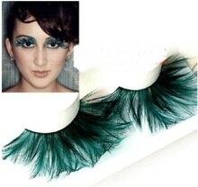 1 pairs CIGARRILLOS-YM059 oscuro punta verde de plumas falsas pestañas de pelo para mujeres maquillaje de pestañas ballet América