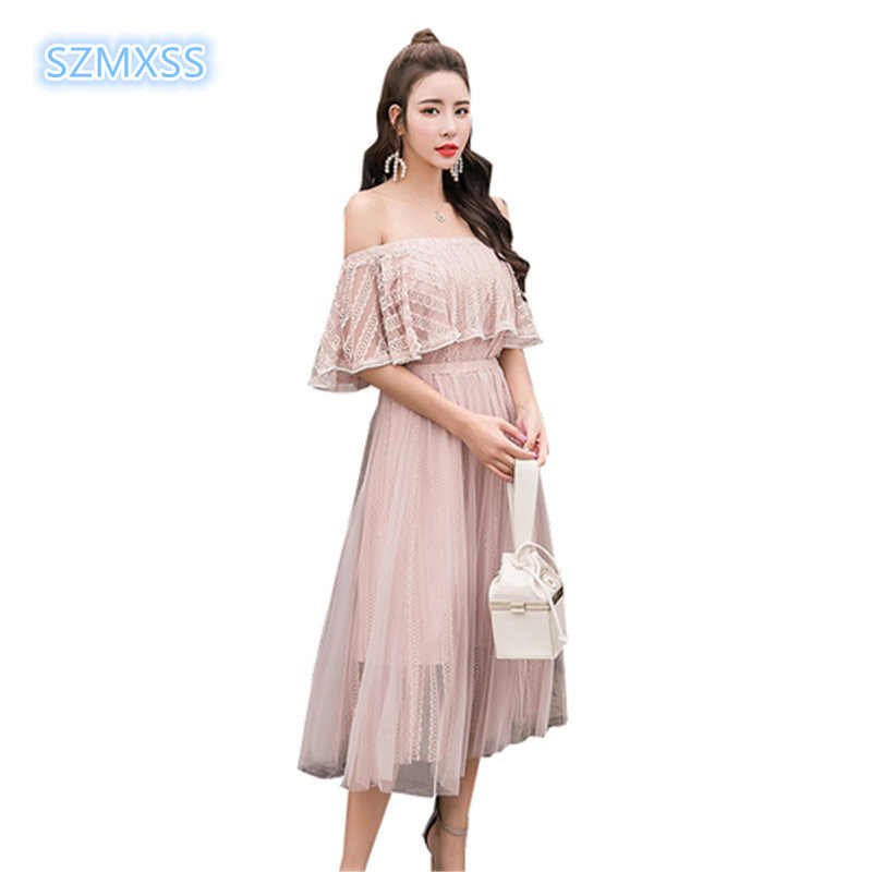 3094b60b58 summer women's dress Large size fashion lace gauze beach holiday Ruffles  shoulder long dress Bohemia sexy