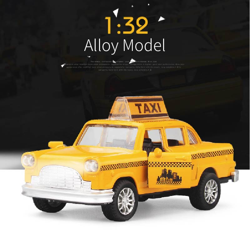 Alloy Car Toys Yellow Classic Taxi Sound And Light Music Model Arrangements Collection Gifts For Boys