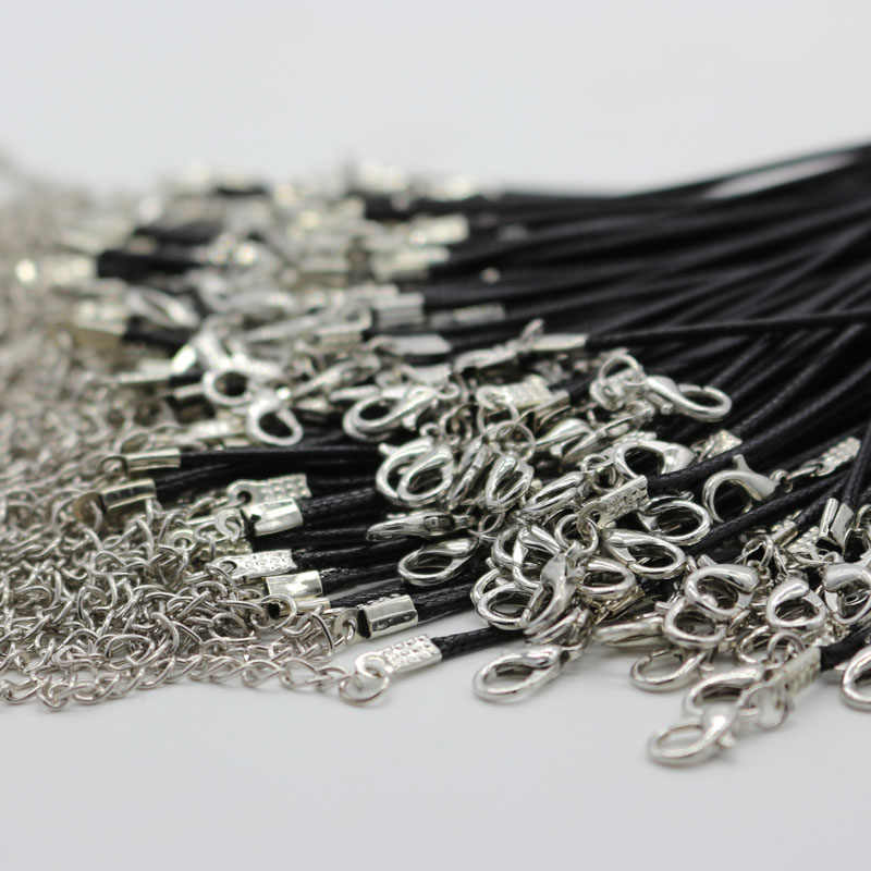 1PCS Black Twisted Braided Rope 2mm Black PU Leather Cord Chain Necklace Silver Clasp String Ropes Men Women DIY Chain Jewelry