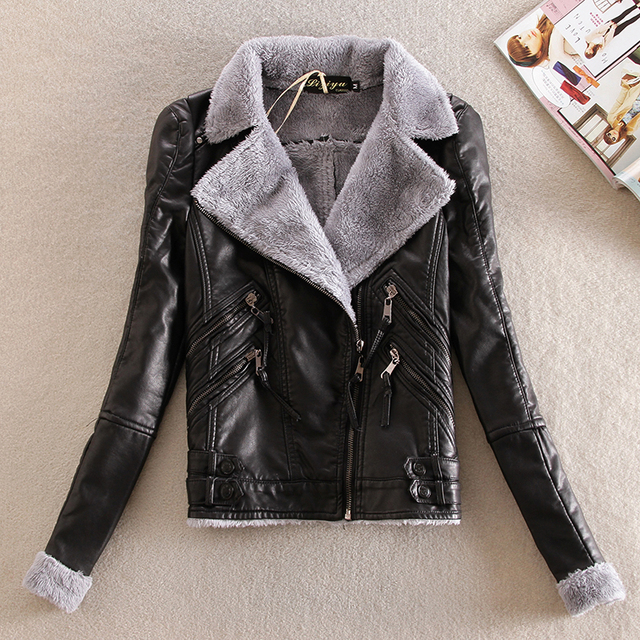 Winter women leather Korean short  plus velvet thick Locomotive leather Slim large yards women short coat