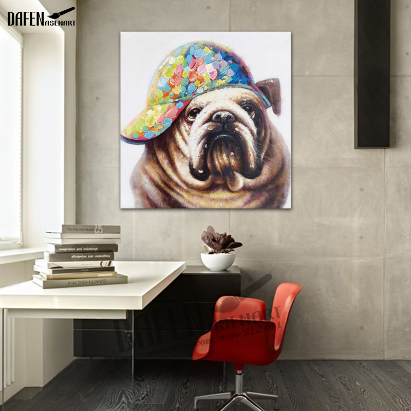 100% Hand Painted Oil Painting Pug Dog Wall Cotton And Linen Canvas Art Lovely Pet Animal Warmly Picture New Modern Home Decor