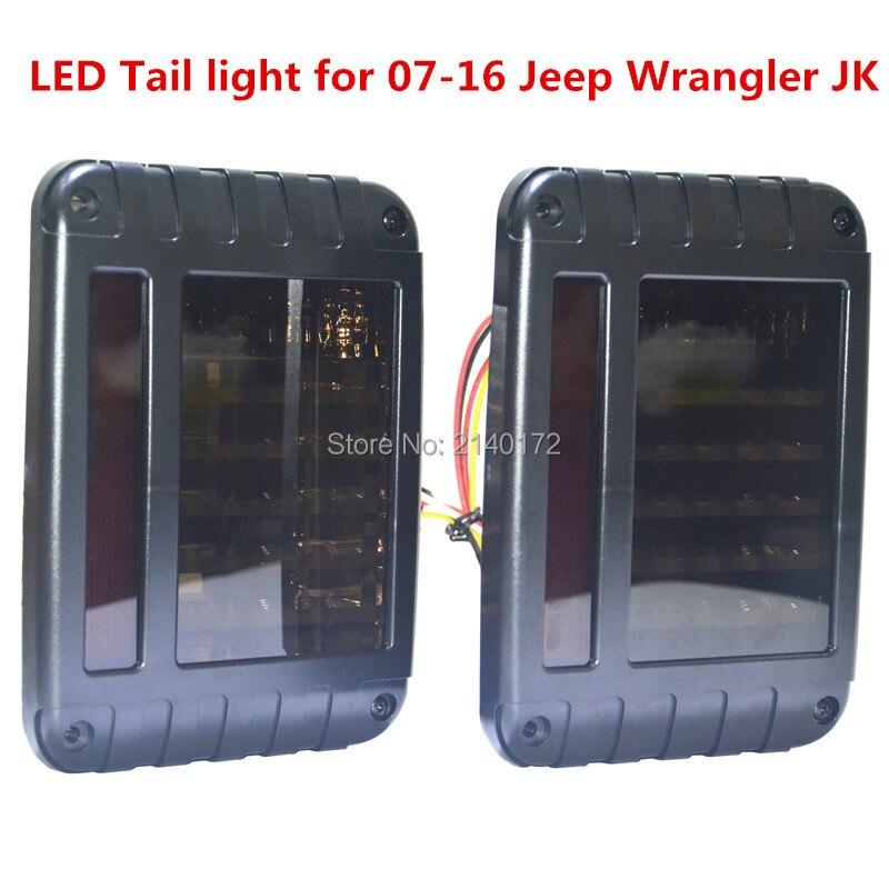 2016 горячая распродажа светодиодные задние фонари, черный LED задний тормозной обратного сигнала поворота задний фонарь для Jeep вранглер JK, как 07-16