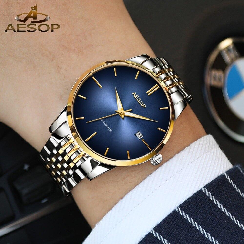 Luxe Mannen Mechanisch Horloge Datum Goud Roestvrij Staal Zakelijke Horloges Voor Man Lichtgevende Automatische Mannelijke Klok Blauw reloj hombre-in Mechanische Horloges van Horloges op  Groep 1