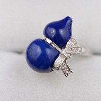 S925 Silver Lapis Lazuli Gourd Shape Ring Sterling Silver Gemstone Finger Ring Best Gifts For Women