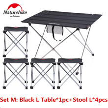 Brand NatureHike New Outdoor Camping Hiking ultralight folding table stool set Travel Wild Dining Picnic table set A-N