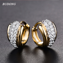 BUDONG Luxury Women Silver/Gold Color Hoop Infinity Earrings White Stone Crystal Cubic Zirconia Fashion Jewelry XUE176