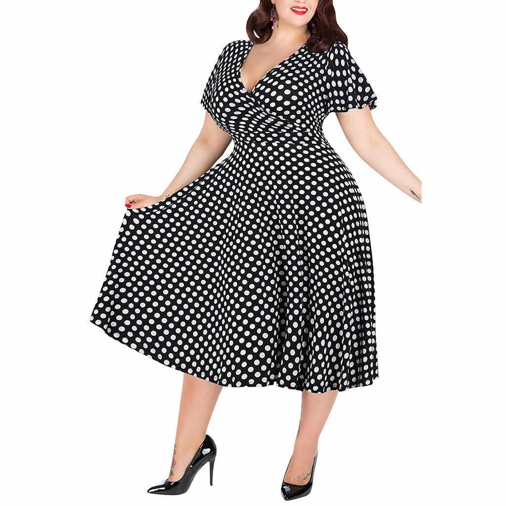 Летнее женское платье большого размера 5XL, элегантное, в горошек, с принтом, макси, длинные платья, повседневное, v-образный вырез, короткий рукав, с высоким поясом, Vestidos