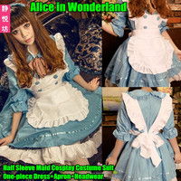 Alice Wonderland Cosplay Costume Suit One Piece Dress Apron Headwear Half Sleeve Lolita Maid Loaded Uniform