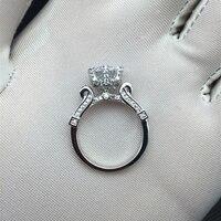 100 925 Sterling Silver Wholesale Luxury Elegant Lotus Flower SONA Stone 2ct Weding Ring For Women