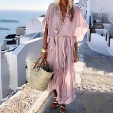 Women Sexy V-Neck Long Dress Casual Short Sleeve Solid Maxi Dress Summer Loose Beach Loose Dresses comfortable women summer spring solid color casual short sleeve pocket spilt v neck loose maxi dress