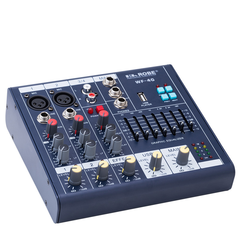 wf 4g mini audio mixer console with usb built in effect processor audio mixer 4 channel mixer. Black Bedroom Furniture Sets. Home Design Ideas