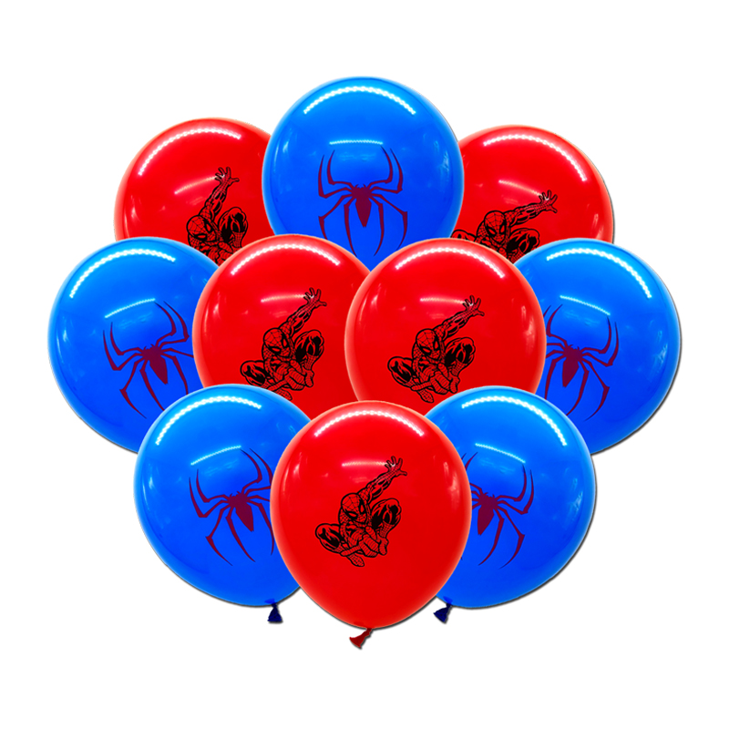 10pcs/lot Boys Kids Super Hero Spiderman Theme Birthday Party Balloon Set, 12inch Latex Balloon Party Deco Home Deco Supplies