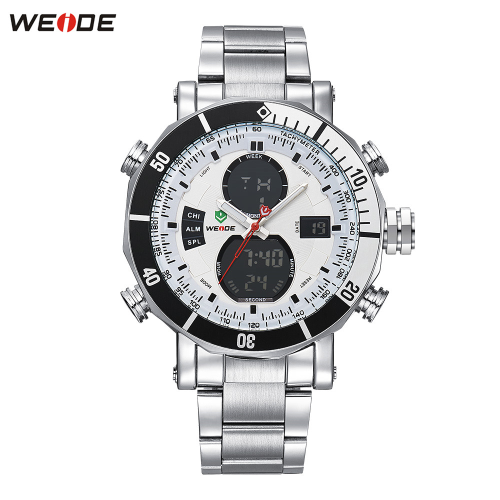 Original Top Brand WEIDE 3ATM Waterproof Sport Watch Men Digital Quartz Watch LED Dual Time White Steel Band Wristwatch Relogios все цены