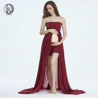 SET 170cm Long Soft Chiffon Split front Boob Tube top Maternity Photography Dress BABY SHOWER GIFT