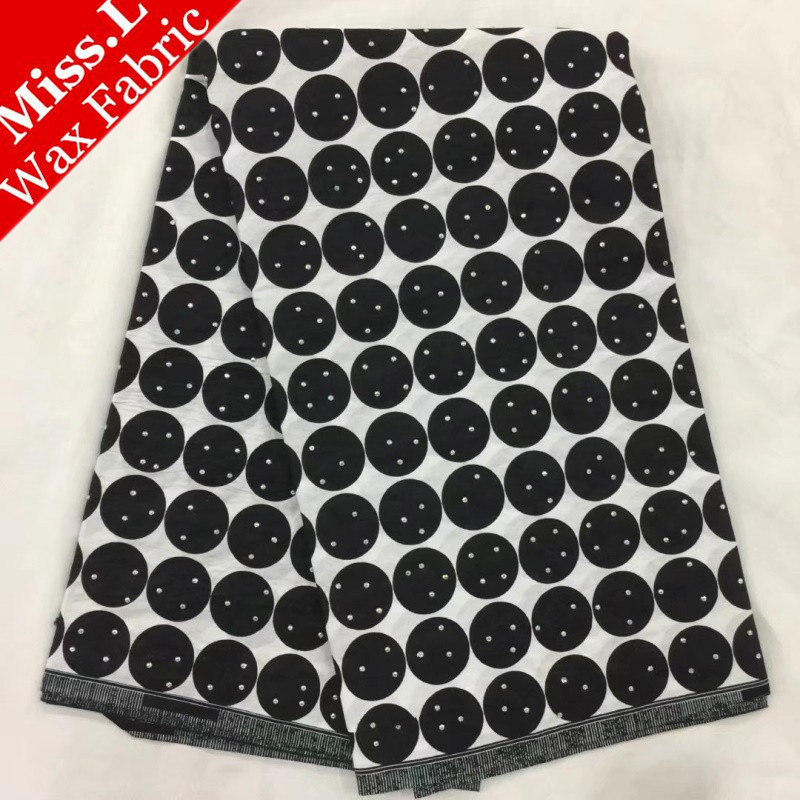 MissL 100% cotton and Stones fashionable design African wax prints fabric wax fabric high quality 6 yards for Women dress,DIY